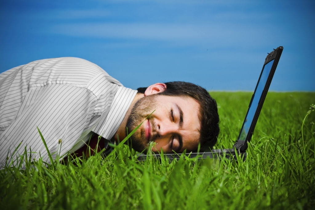 business man sleeping on laptop in the field